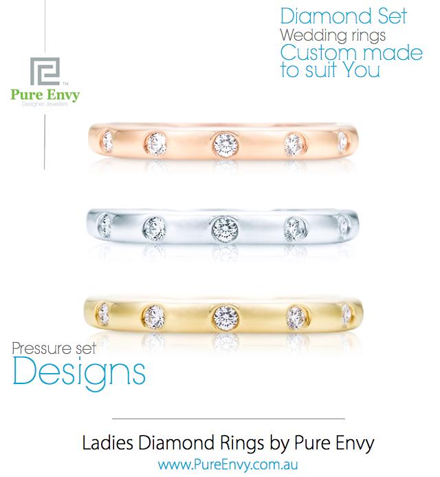 #5, Ladies pressure set diamond wedding rings by Pure Envy