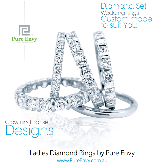 #6, Ladies wedding rings, Claw and Bar set designs by Pure Envy