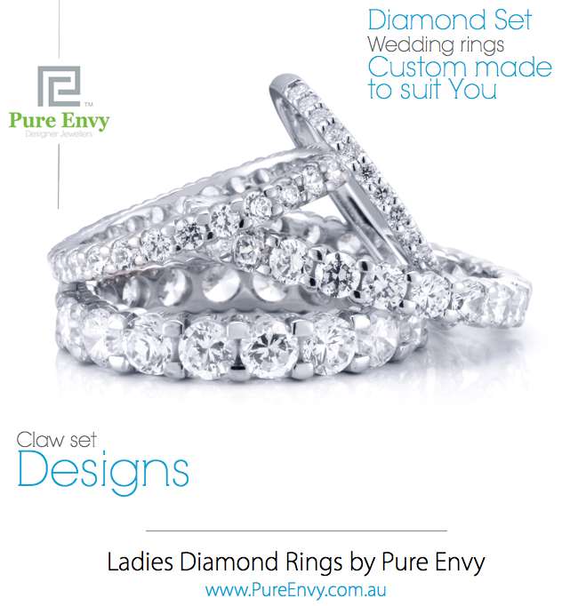 #7, Ladies wedding rings, Claw set designs by Pure Envy.