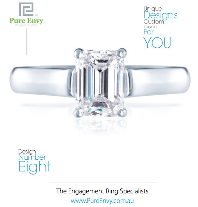 Emerald Cut Diamond Solitaire Engagement Ring #8, by Pure Envy