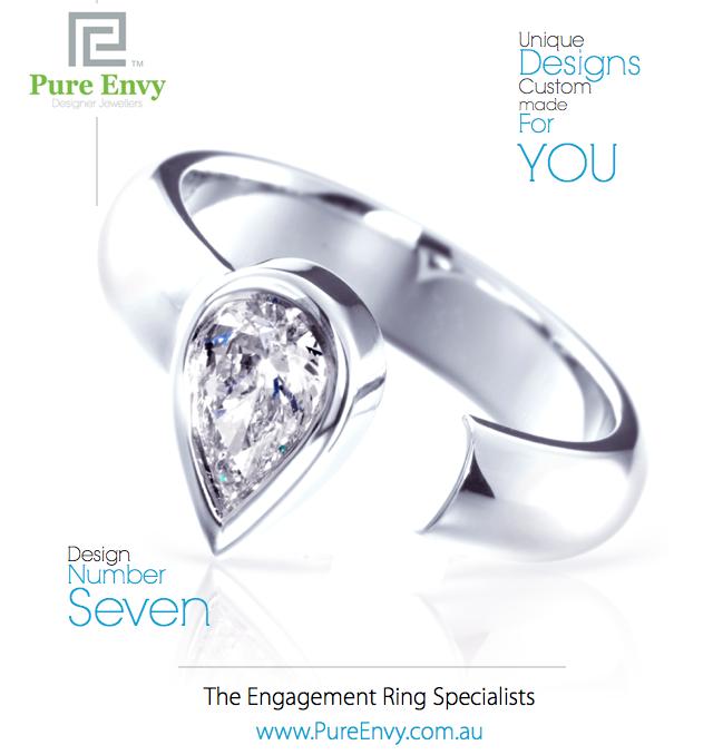 Pear Shape Solitaire, Unique Engagement Ring #7, by Pure Envy