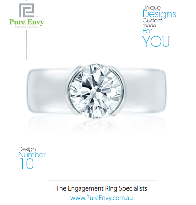 Wide band Solitaire Engagement Ring #10, by Pure Envy