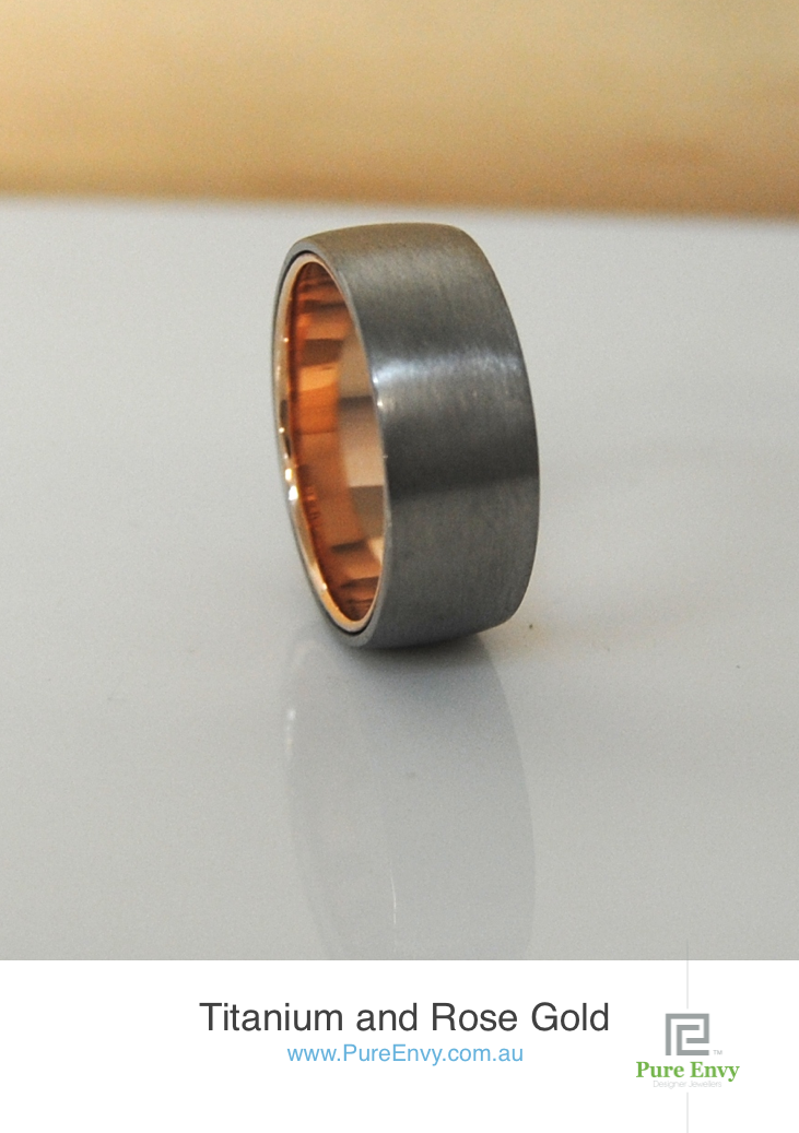 Titanium-&-rose-gold-mens-ring-by-pure-envy