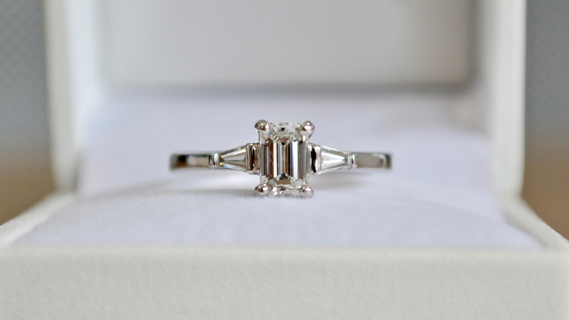 Emerald cut diamond with baguettes