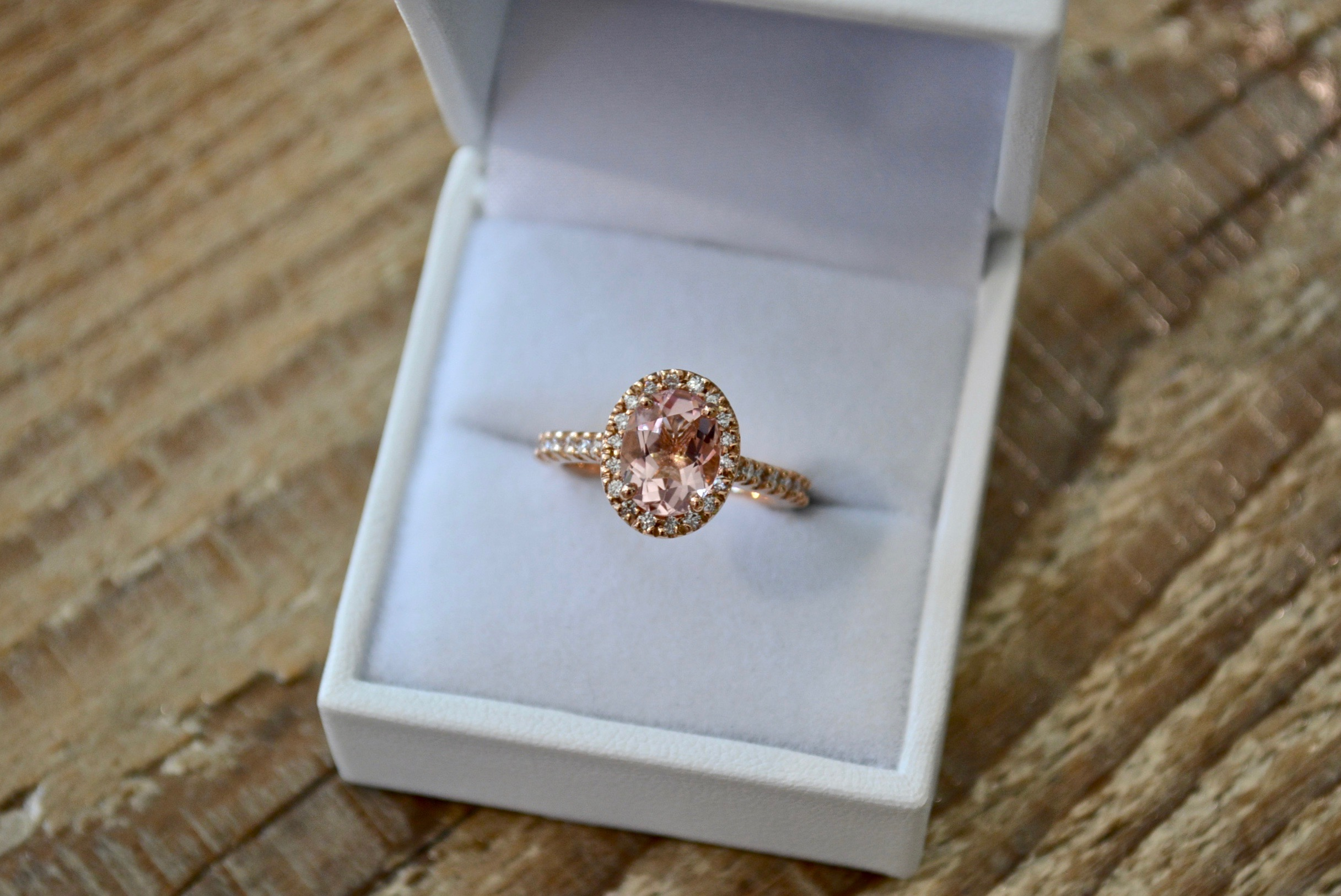 Morganite and rose gold halo by the studio