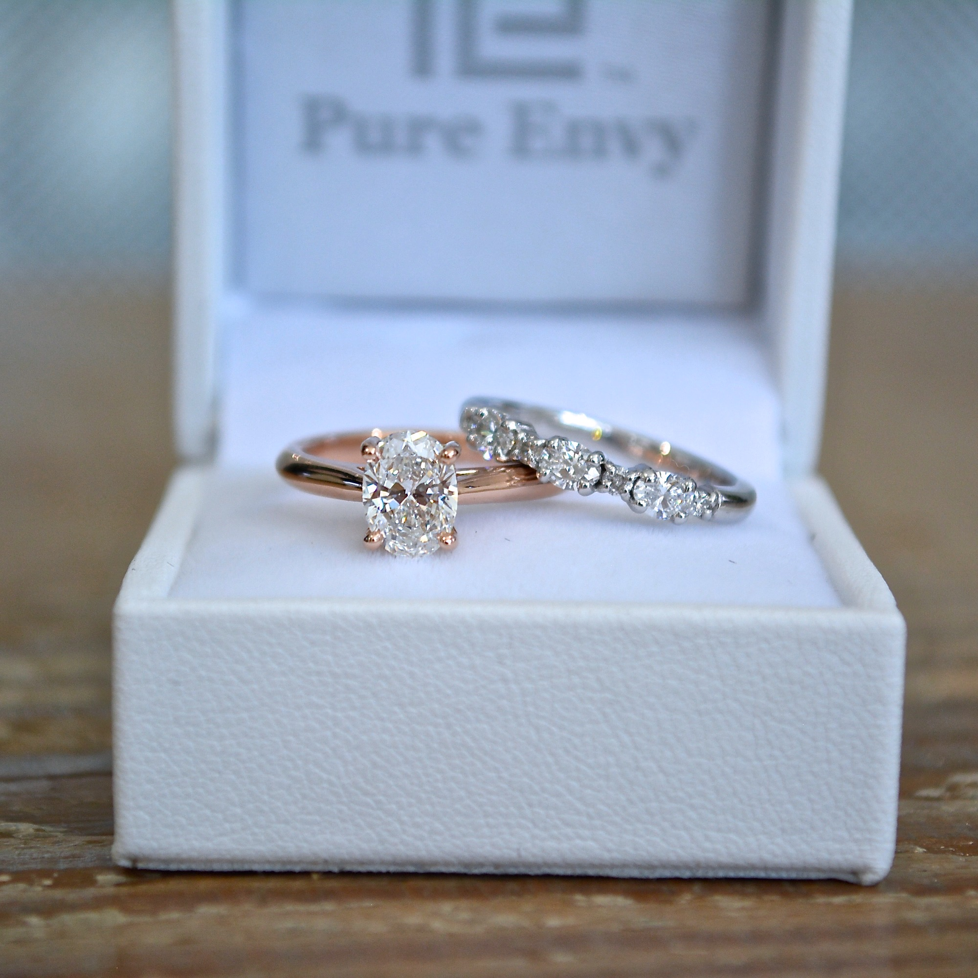 Rose Gold Oval Solitaire and Oval Wedding Ring