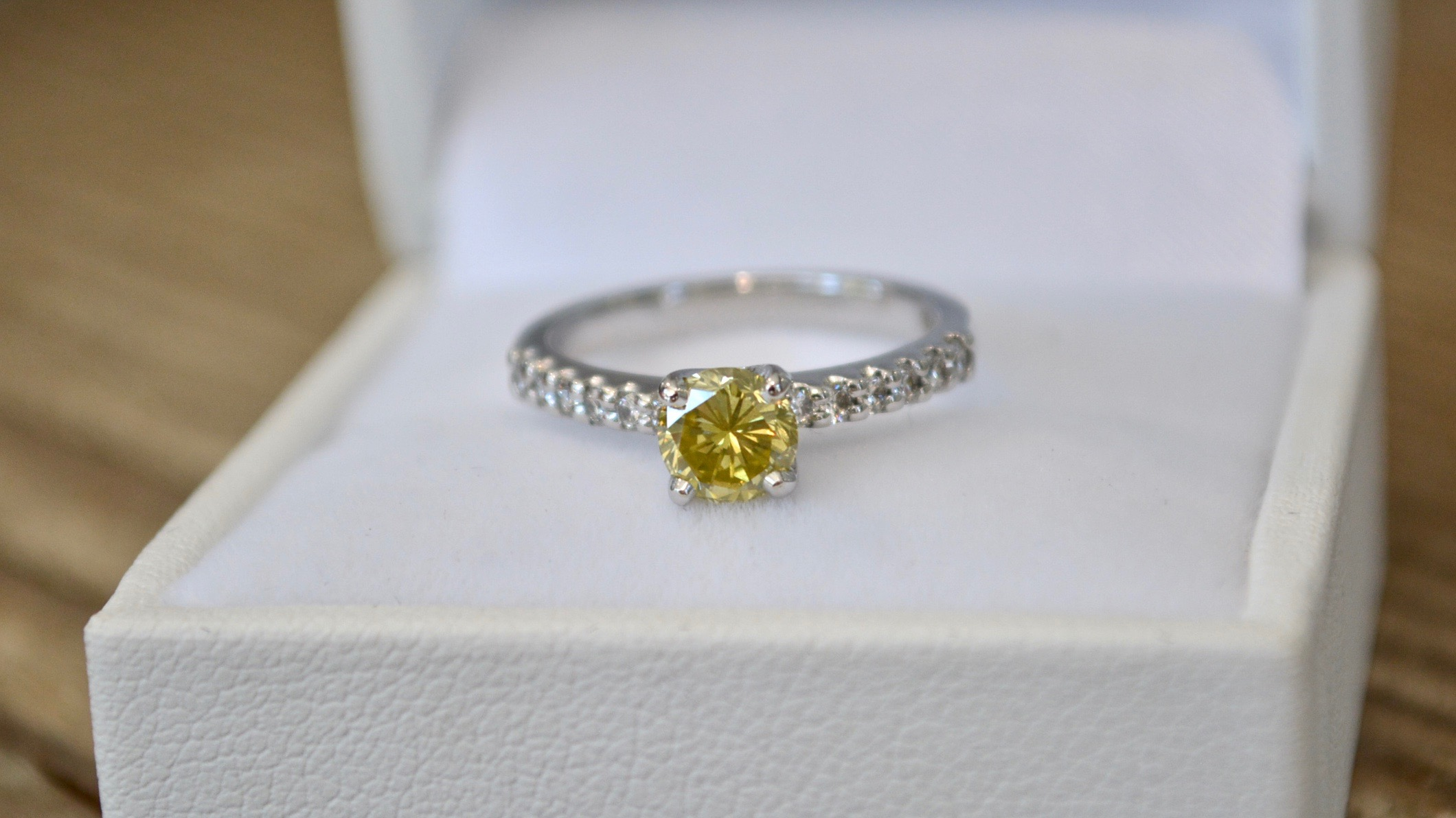 Yellow Diamond Engagement Ring made on-site by Pure Envy