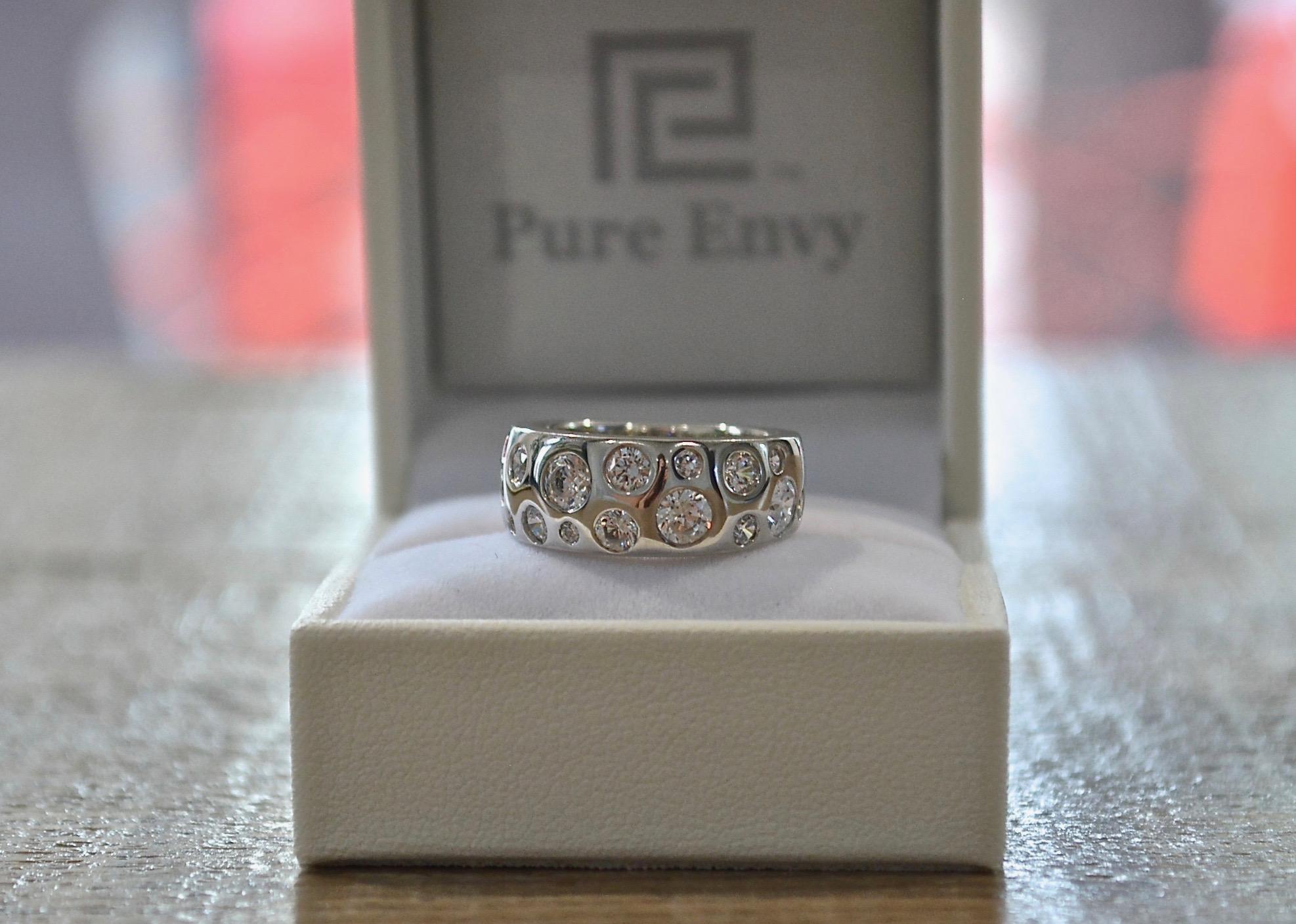 wide pressure set diamond ring
