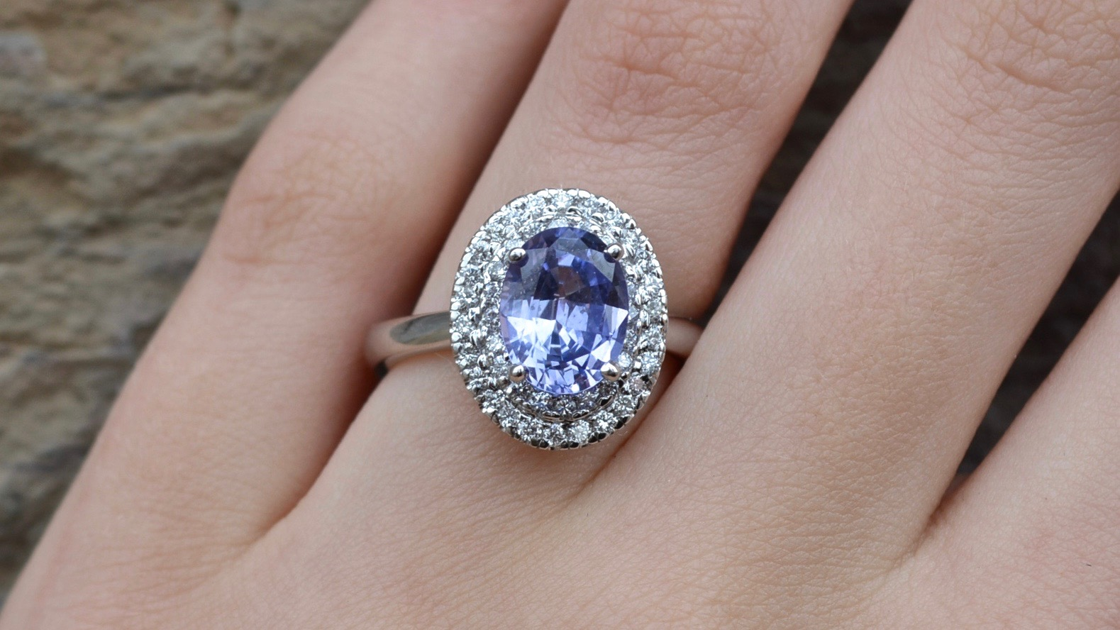Mauve Sapphire with double halo